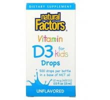 Natural Factors Витамин D3 в каплях для детей, без ароматизаторов (15 мл.)