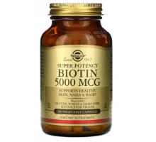 Solgar, биотин biotin, 5000 мкг (100 капс)