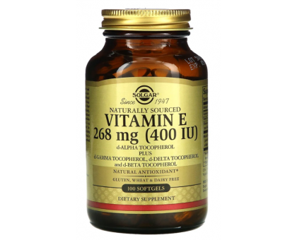 Solgar, натуральный витамин E ,vitamin E, 268 мг (400 МЕ), (100 капс)