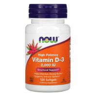Now, витамин Д-3 vitamin D3, 50 мкг (2000 МЕ), (120 капсул)