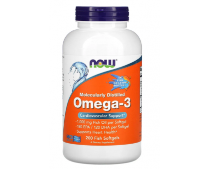NOW Omega-3 1000 мг (200 гел.капс)