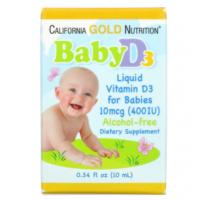California Gold Nutrition, Baby Vitamin D3 Liquid, витамин Д-3 в каплях (400 IU) (10 ml)