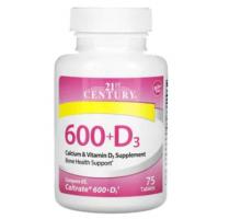 21st Century, 600+D3, добавка с кальцием и витамином D3 (75 таб)
