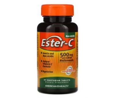 American Health, Ester-C аскорбат натрия с биофлавоноидами 500 мг (90 капс)